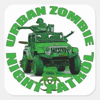 Patrulla urbana de la noche del zombi pegatina cuadrada