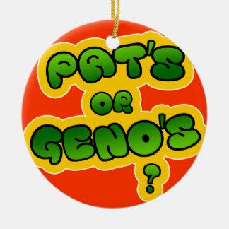 Pat's or Geno's? Ceramic Ornament