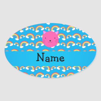 Patt azul personalizado de los arco iris de la pegatina ovalada