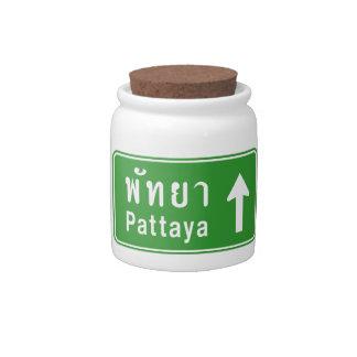 Pattaya Ahead ⚠ Thai Highway Traffic Sign ⚠ Candy Jars