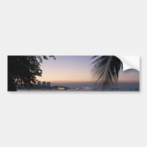 Pattaya Beach Sunset ... Chonburi, Thailand Bumper Stickers