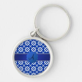 Patten azul del ornamental de los corazones del llaveros personalizados