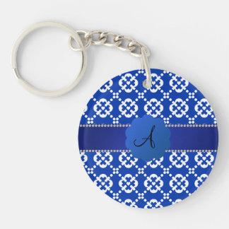 Patten azul del ornamental de los corazones del llavero