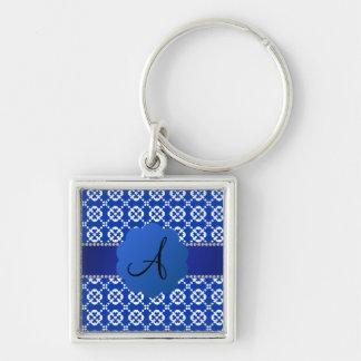 Patten azul del ornamental de los corazones del mo llavero personalizado