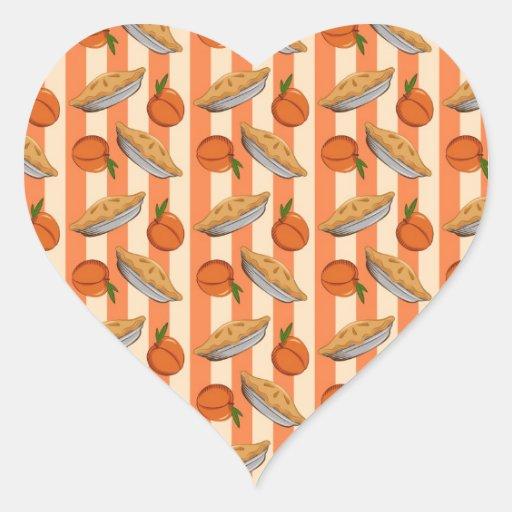 Patten del melocotón y de la empanada pegatina en forma de corazón