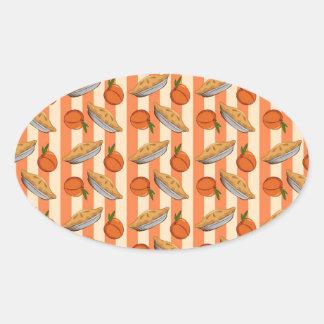 Patten del melocotón y de la empanada pegatina ovalada