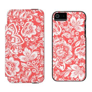 Patten floral barroco blanco sobre rojo coral funda billetera para iPhone 5 watson