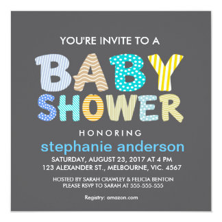 Patter filled baby shower letter for boy card