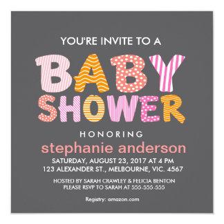 Patter filled baby shower letter for girl custom invitation