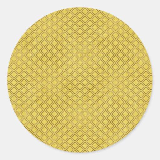 pattern74 BROWN AMARILLO TEJA EL MODELO TEMPL de l Etiquetas Redondas