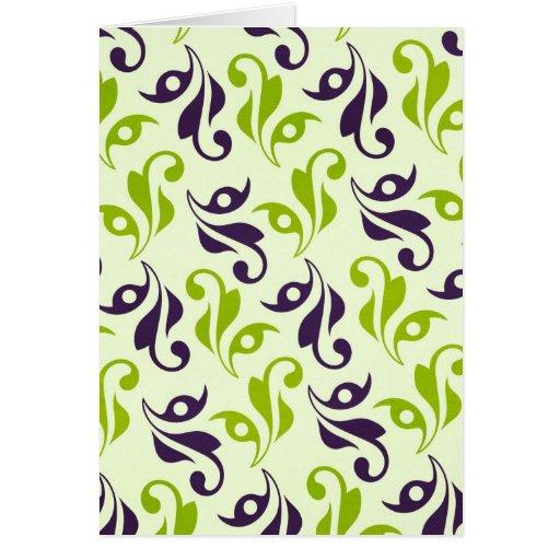 pattern79 PURPLE GREEN VINE SWIRLS PATTERN  TEXTUR Card