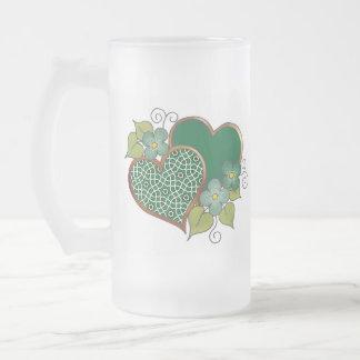 Pattern-019 Bottle Green Mesh 16 Oz Frosted Glass Beer Mug