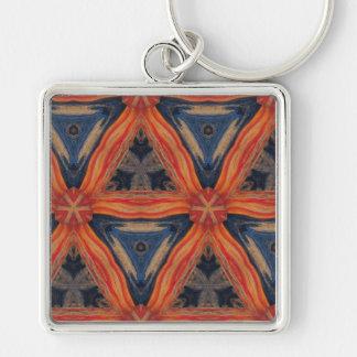 Pattern Abstract keychain blue red orange