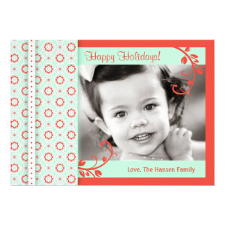 Pattern and Floral Swirls Holiday Photo Card Custom Invitations