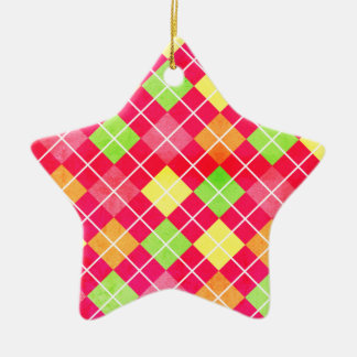 Pattern Argyle Pink Gelati Double-Sided Star Ceramic Christmas Ornament