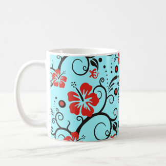 Pattern ARTs - hibiscus decor | cyan Coffee Mug