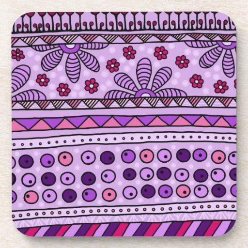 pattern azur-yzor 001 pink drink coaster