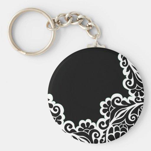 pattern basic round button keychain