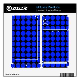 Pattern: Black Background with Blue Circles Motorola Milestone Decals