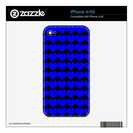Pattern: Black Background with Blue Hearts iPhone 4 Decals
