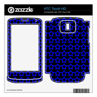 Pattern Black Background with Blue Stars HTC Touch HD Skins