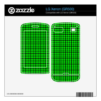 Pattern Black Background with Green Circles Decals For LG Xenon