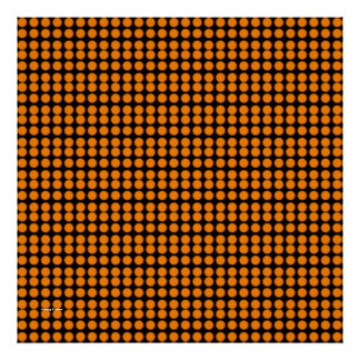 Pattern: Black Background with Orange Circles Poster