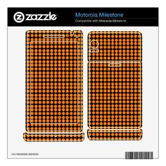 Pattern: Black Background with Orange Circles Motorola Milestone Skins