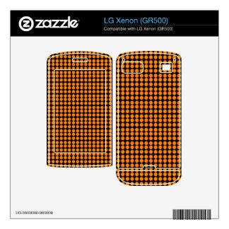 Pattern Black Background with Orange Circles LG Xenon Decal
