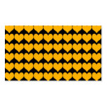 Pattern: Black Background with Orange Hearts Business Card Templates