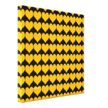Pattern: Black Background with Orange Hearts Gallery Wrap Canvas