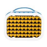 Pattern: Black Background with Orange Hearts Yubo Lunch Box