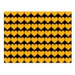 Pattern: Black Background with Orange Hearts Post Card