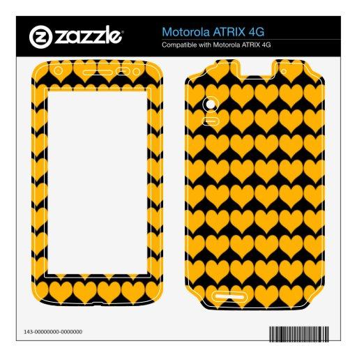 Pattern: Black Background with Orange Hearts Motorola ATRIX 4G Decal