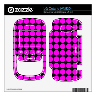 Pattern Black Background with Pink Circles Decals For The LG Octane