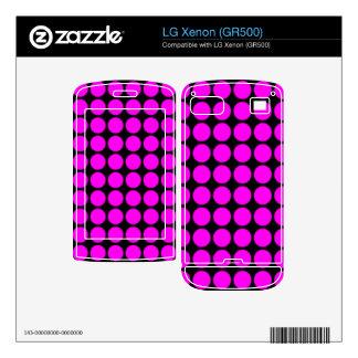 Pattern Black Background with Pink Circles LG Xenon Skin