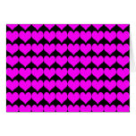 Pattern: Black Background with Pink Hearts Greeting Card