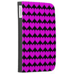 Pattern: Black Background with Pink Hearts Cases For The Kindle