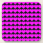 Pattern: Black Background with Pink Hearts Coaster