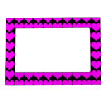 Pattern: Black Background with Pink Hearts Photo Frame Magnets