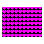 Pattern: Black Background with Pink Hearts Postcard