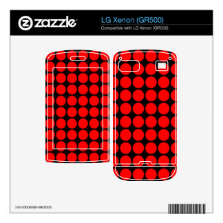 Pattern Black Background with Red Circles Decals For LG Xenon