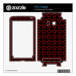 Pattern Black Background with Red Stars Skins For HTC Imagio