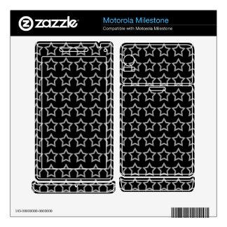 Pattern: Black Background with White Stars Motorola Milestone Decal