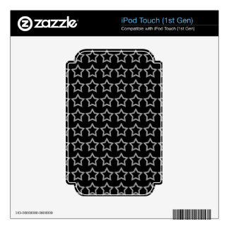 Pattern: Black Background with White Stars Decal For iPod Touch
