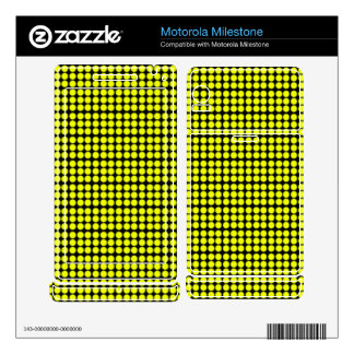 Pattern: Black Background with Yellow Circles Motorola Milestone Skin