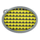 Pattern: Black Background with Yellow Hearts Oval Belt Buckle