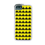 Pattern: Black Background with Yellow Hearts iPhone 5 Cases