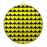 Pattern: Black Background with Yellow Hearts Dartboard