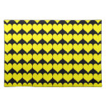 Pattern: Black Background with Yellow Hearts Placemat